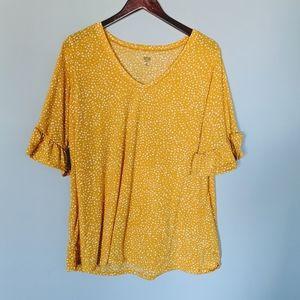 Ana Ruffle Sleeve Mustard Plus Women's Blouse